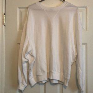 Solid white crew neck sweatshirt size L